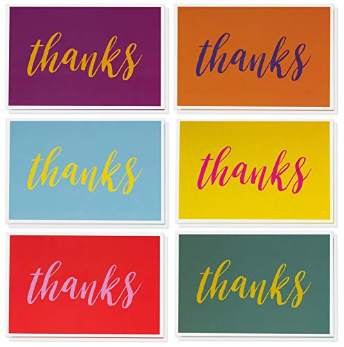 Thank You Cards - 48-Count Thank You Notes, Bulk Thank You Cards Set - Blank on the Inside, 6 Bright and Colorful Designs � Includes Matching Envelopes - Perfect for Kids and Teachers, 4 x 6 Inches