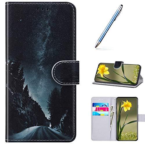 Kompatibel mit Huawei Enjoy 10S Handyhülle Leder Handytasche,Flip Case mit Bunt Muster Schutzhülle Brieftasche Magnet Kartenfächer Lederhülle Kratzfest Tasche Bookstyle Klapphülle,Nacht