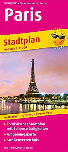 Paris: Touristischer Stadtplan mit Sehenswürdigkeiten und Straßenverzeichnis. 13.000 (Stadtplan: SP)