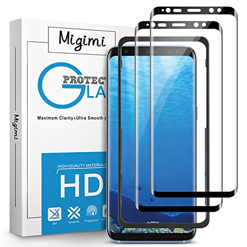 Migimi Pellicola Protettiva per Samsung Galaxy S8 Vetro Temperato, [2 Pack] 9H Durezza Protezione Schermo [Anti-Graffio] [Senza Bolle] Schermo Protettivo per Galaxy S8 (Nero)