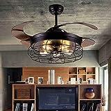 Ventilador de techo de 220V 40–59W,42 pulgadas, vintage, con iluminación, luz LED E27 con mando a distancia, ventilador retráctil, lámpara de techo 2 en 1, luz de ventilador para café/pasillo/salón
