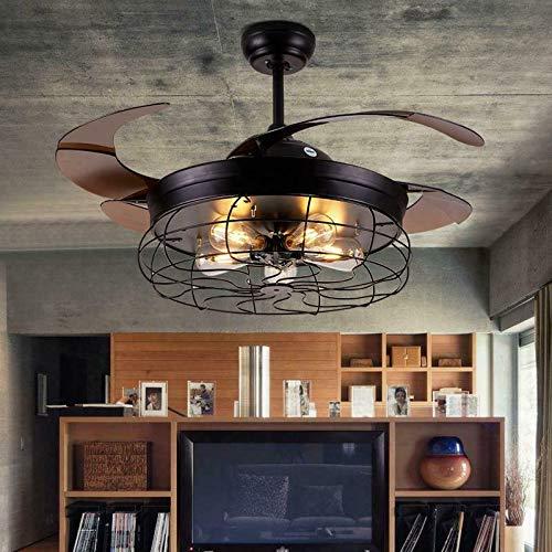 Ventilador de techo de 220V 40–59W,42 pulgadas, vintage, con iluminación, luz LED E27 con mando a distancia, ventilador retráctil, lámpara de techo 2 en 1, luz de ventilador para café/pasillo/