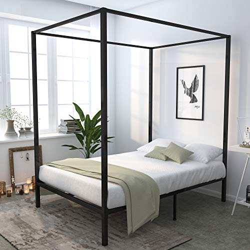 YITAHOME Metal Full Size Canopy Bed Frame / 13 Inch Platform/Wood Slat Support/No Box Spring Needed