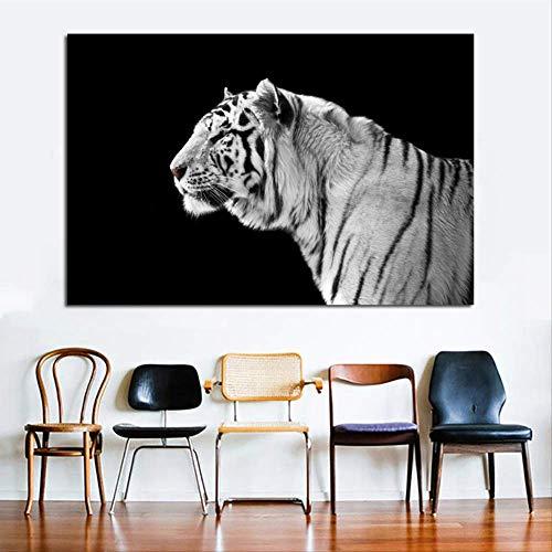 Zwart-wit tijger canvas schilderij Wall Art dier foto moderne decoratie voor woonkamer canvas print 30x45cm
