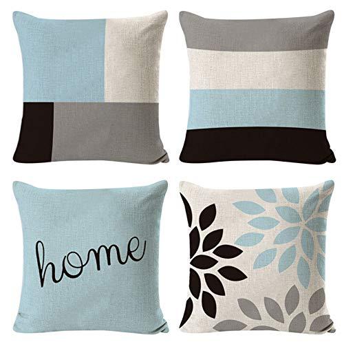 Federa decorativa per cuscino, 45 cm x 45 cm, in lino, stile geometrico, per divano, soggiorno, casa, auto, set da 4