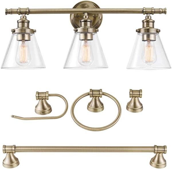 Globe Electric 51381 Parker 5 Piece All In One Bathroom Set 3 Light Vanity Bar Towel Ring Robe Hook Toilet Paper Antique Brass
