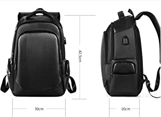 KUVV Durable Backpack Men's Wearable Usb Rechargeable Outdoor Backpack Casual Business Oxford Cloth (Color : Black)