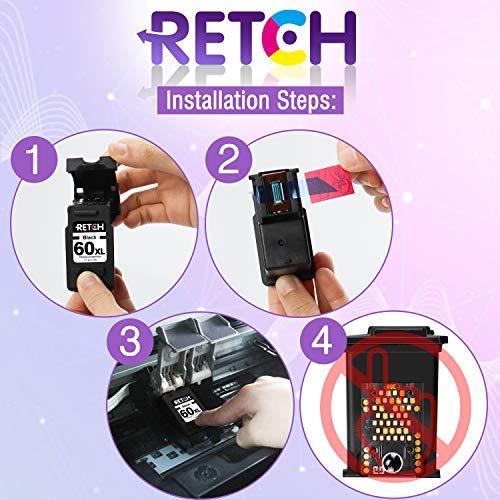 RETCH Re-Manufactured Ink Cartridge Replacement for HP 60XL 60 XL CC641WN CC644W   N for Photosmart C4680 D110 C4795 Deskjet F4480 F2480 F4280 D1660 Envy 100 110 114 (1 Black 1 Tri-Color)