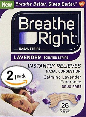 2 Pack Breathe Right Nasal Strips LAVENDER SCENTED Strips 52 Strips of Calming Lavender