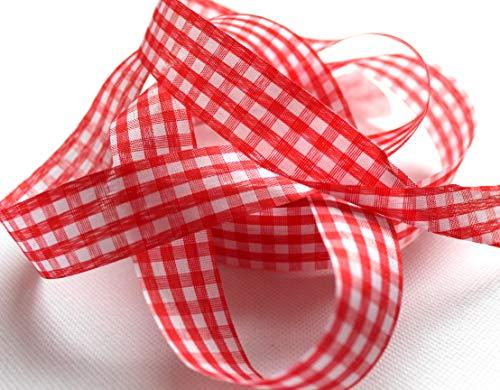 CaPiSo® - 25 m de cinta de cuadros Vichy, 25 mm, cinta de regalo, rústica, para lazo, banda decorativa, cuadros rojos