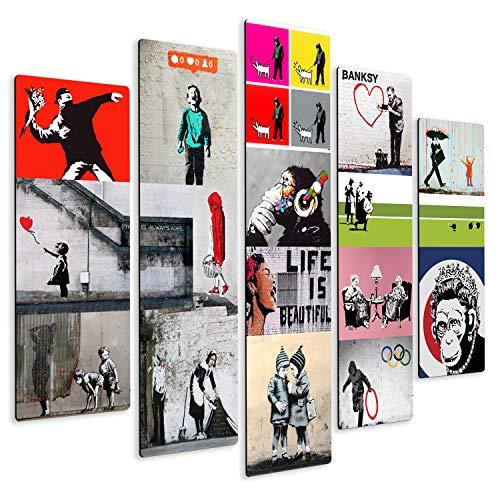 Giallobus - Quadro multipannello - Banksy - Collage - Stampa su Legno MDF - Pronto da Appendere - 140x100 cm