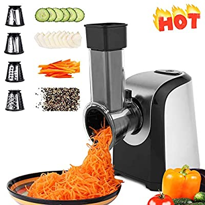 Electric Vegetable Graters Professional Salad Maker, Electric Slicer Shredder Graters for Kitchen, Electric Salad Shooter for Vegetables Carrot Cheese Black