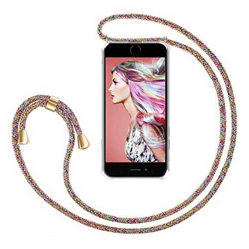 ZhinkArts Handykette kompatibel mit Apple iPhone 7/8 / iPhone SE (2020) - 4,7' Display - Smartphone Necklace Hülle mit Band - Handyhülle Case mit Kette zum umhängen in Rainbow