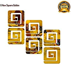 SPIRITED 6 Square 3D Mirror Acrylic Wall Stickers (Golden)