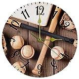 Reloj de Pared Decorativo Relojes de batería Murón de béisbol del Guante de béisbol Reloj sin tictac para Cocina / salón 25cm