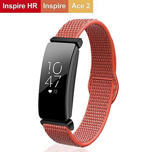 VEAQEE Bands Compatible with Inspire HR and Inspire Bands and Ace 2 Woven Soft Nylon Sport Breathable Watch Strap Quick Release Replacement Wristband Accessories for Women Man (apricot)
