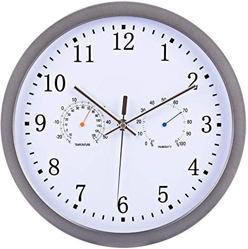 30 cm / 12 inch Radio Controlled Wandklok Silent Wall Clock Met hygrothermograph FANJIANI
