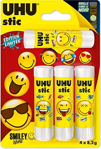 UHU Colla stick senza solventi, 4 x 8,2 g, 4 x 8,2 g Stic Smiley