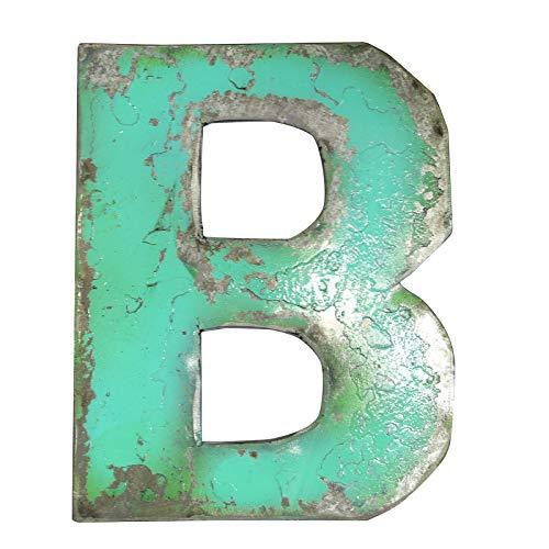 Boogs Metallbuchstabe B im Vintage Stil   Retro Buchstaben aus Metall   Industrial Deko Metallbuchstaben   Hellgrün auch in Anderen Farben
