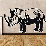 Tianpengyuanshuai Adhesivo de Pared Rhino Family Decoration Adhesivo removible Mural 57X37cm