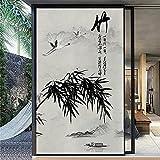 Jzdhlsc Película para Ventana Pintura De Tinta China, Bambú Utoadhesiva Electrostática - Ventana Se Aferran para Oficina Hogar Decoración Privacidad Protección 60x200cm