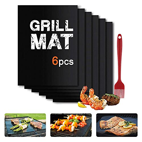 OITIO GRILL MATS SET OF (6+1) 15.8X13 INCH EASY TO CLEAN AND REUSABLE BBQ ACCESSORIES HEAT RESISTANT BARBECUE GRILLING MAT WORK ON ELECTRIC GRILL GAS CHARCOAL FOR OURDOOR GRILL (BLACK)
