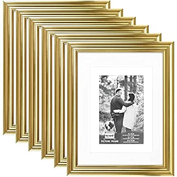 Memory Island Picture Photo Frames 8x10 with 5x7 and 4x6 Mat,6 Pack,Gold