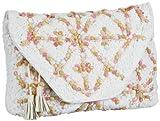 Antik Batik Crochet - Bolso de Mano de Lana Mujer, Color Blanco, Talla 34x25x5 cm (B x H x T)