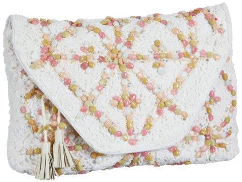 Antik Batik Crochet - Bolso de Mano de Lana Mujer, Color Blanco, Talla...