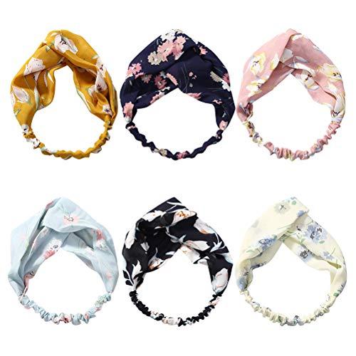 6pcs croix bande de cheveux lavage de visage bande de cheveux élastique étroit côté floral noué bandeau (1 pc dans chaque couleur, rose, bleu marine, jaune, bleu foncé, beige, noir)