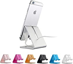 Rumfo Cell Phone Stand, Universal Portable Aluminum Desktop Charger Mount Holder Metal Charging Dock Cradle for Nintendo Switch iPhone Samsung Android Smartphones and Tablets (Silver-1)