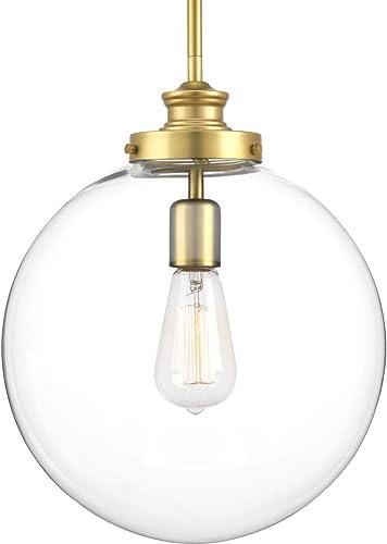 discount Penn online Collection 1-Light Clear outlet sale Glass Farmhouse Pendant Light Natural Brass outlet online sale