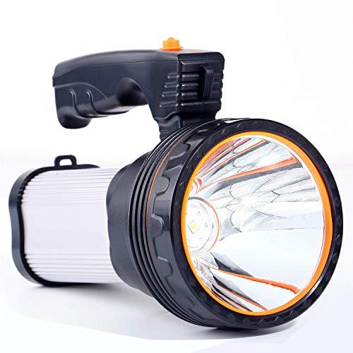 Linterna LED Recargable, 6000 Lúmenes 6000mAh Linternas Alta Potencia Súper Brillante Farol de Cámping Linterna Gran Alcance, Ideal para Acampar, Pesca Nocturna, Caza, lmpermeable IPX4 (Plata)