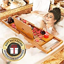 YM Lux Craft Bamboo Bathtub Caddy Tray [Durable, Non-Slip], 1-2 Adults Expandable Bath Tray, Beautiful Gift Box, Fits Any Tub - Holds Book, Wine, Phone, Ipad, Laptop, Etc - Free Bathroom Door Hanger