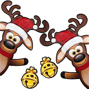 Bigtime Signs XL 4 Piece Reflective Magnetic Reindeer Car Kit - Funny Christmas Car Decorations + 2 Jingle Bells Magnets - Holiday Automotive Magnet  Waving Reindeer