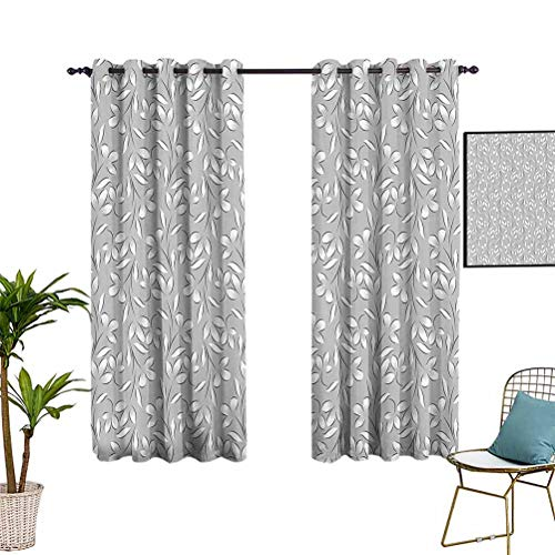 Silver Light Blocking Blackout Curtains Floral Ornaments Springtime Theme Abstract Paisley Antique Vintage Style Illustration Darkening Curtains for Living Room 55'x72' Grey White