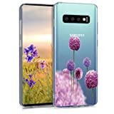 kwmobile Hülle kompatibel mit Samsung Galaxy S10 - Hülle Silikon transparent Blume Kugel Pink Violett Transparent