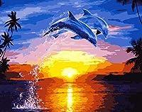 子供と大人のためのデジタルキット絵画キャンバス絵画とDIYデジタル絵画2つのジャンプするシロナガスクジラ40x50cmフレームレスルーム