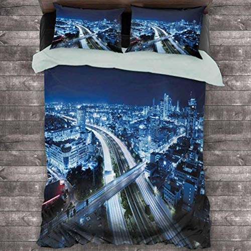 Toopeek Travel 3-Pack (1 Duvet Cover and 2 Pillowcases) Aerial View Tel Aviv Night Ayalon Highway City Life Modern Panorama Photo Polyester (Full) Dark Blue Pale Blue