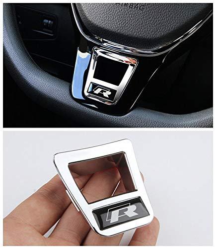 Steering Wheel Cover Badge Chrome Trim R for Volkswagen VW Passat Atlas Touran Jetta Polo Golf/GTI MK7 Tiguan 2016 2017 2018 2019