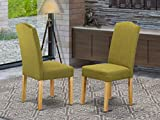 East West Furniture Dining Chairs - Comfortable Light Pickle Linen Fabric,...