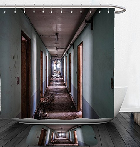 Nalahome Bath Suit: Showercurtain Bathrug Bathtowel Handtowel Rustic Interior Hallway of Korean Psychiatric Hospital Asylum Nostalgic Picture Brown Blue