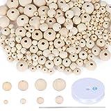 FOGAWA 1175pz Perline in Legno Naturale 6-20mm Perline Legno Rotonde con Foro Perline Rotonde per Fare Gioielli Decorazioni Artigianali Fai da Te