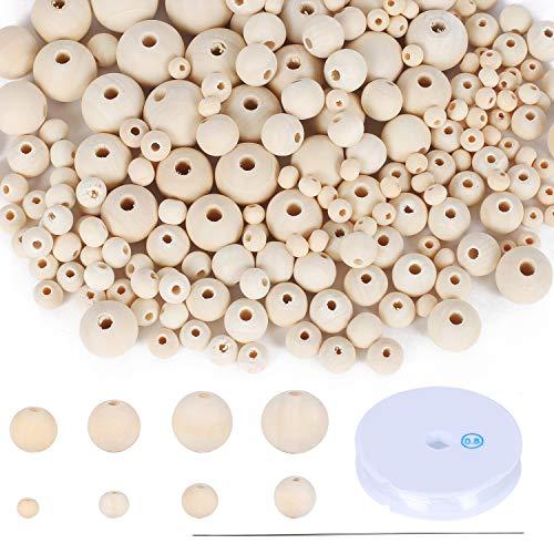 FOGAWA 1175pcs Cuentas Redondas de Madera Natural Cuentas de Madera sin Pintar 8 Tamaños Cuentas de Bricolaje con para Bricolaje Decoración del Hogar Joyería Hecha a Mano Artesanía