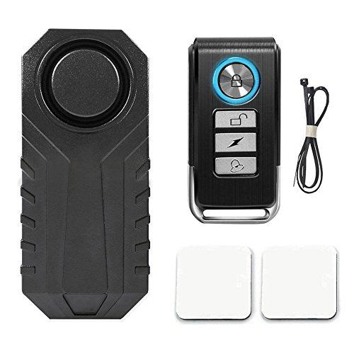 Fahrrad Alarmanlage 113 dB, Mini Diebstahlsicherung mit Fernbedienung, Fahrradalarm, Funk Mini Diebstahlsicherung für Fahrrad/ Motorrad, IP55, Funkreichweite 10-20 Meter