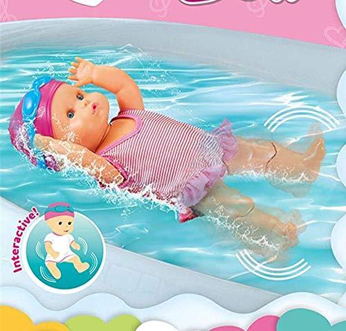 Poupée de natation interactive pour bébé avec fonction de natation - Jouet d'eau pour la baignoire