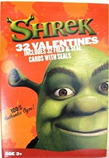Shrek 32 Valentines Fold & Seal Cards w/ 32 Seals