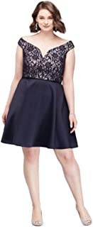 a7d02f8d7 V-Neck Bonded Lace Fit-and-Flare Plus Size Dress Style 3447TP4W