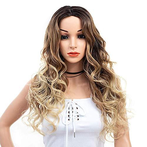 ZHANGYY Perruque Longue Blonde bouclée ondulée résistante à la Chaleur pour Femmes en véritable Perruque de Cheveux Humains