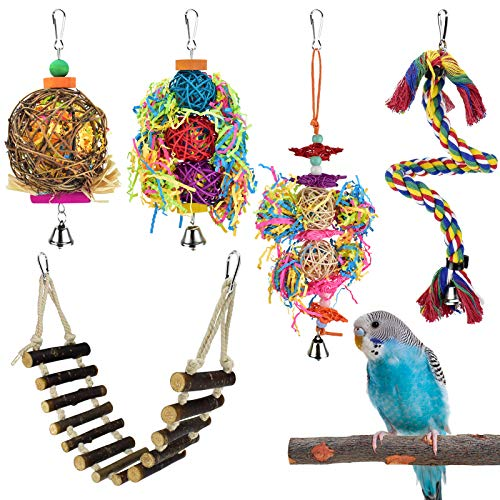 KATUMO Small Bird Toys, Durable Natural Wood Ladder Colorful Hanging Shredding Toys Climbing Rope Bird Wood Perch for Parakeets, Conures, Cockatiels, Budgies, Mynahs, Love Birds and Other Small Birds